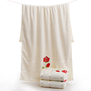 Concise Style Embroidery Cotton Bath Towels with Flowers