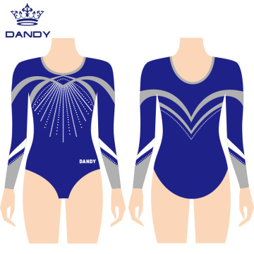 Long sleeve metallic gymnastics leotards