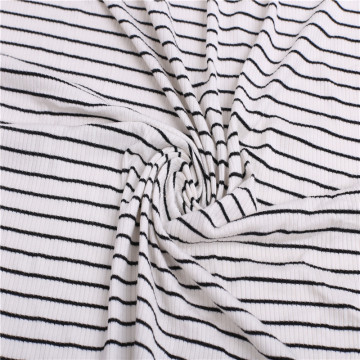 Durable Black White stripe Knitted Rib Fabric