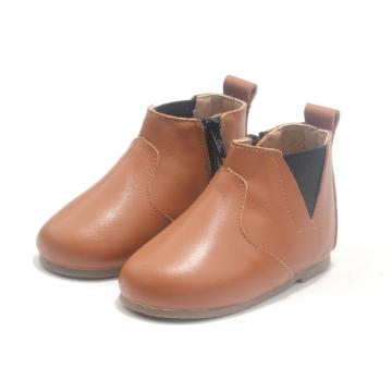 Leather Brown Children Winter Boots Pattern For Kids