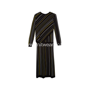 Women's Knitted Colourful Diagonal Stripe Long Dress