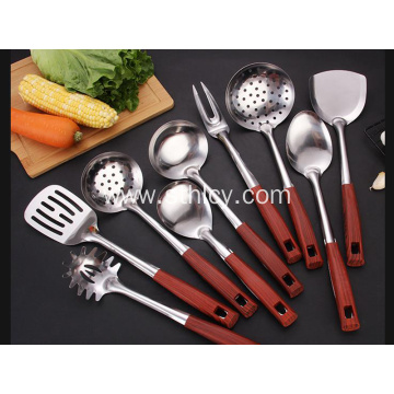 Household Stainless Steel Kitchenware Wood Cooking Kit