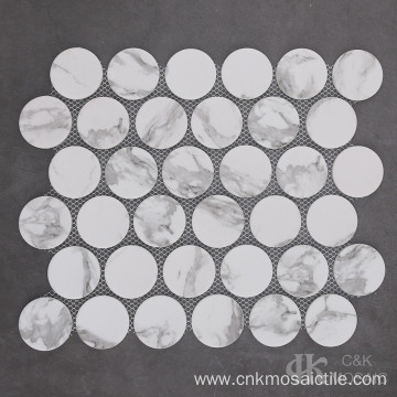 Marble Look Recycled Concaved Round Glass Mosaic Tile