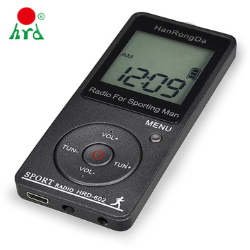 HanRongDa HRD-602 Portable Radio Receiver FM/AM Radio LCD Display Lock Button Pocket Radio with Earphone Sports Pedometer