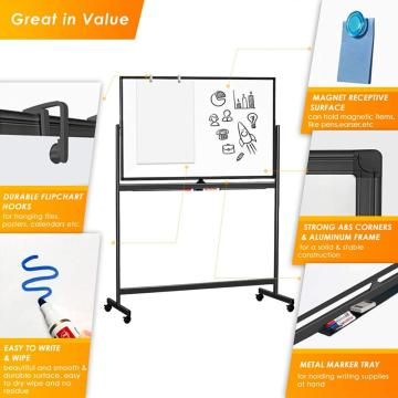 Double Sided Mobile Whiteboard Strong Aluminum Black Frame