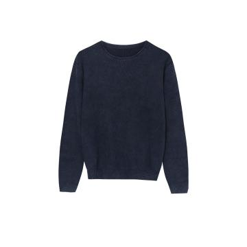 Men's Knitted Garment-Dye Stone-Wash Honey Comb Pullover