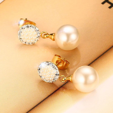 Gold plated faux pearl stud drop earrings