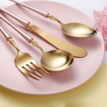 Nordic Style Luxury gold Flatware Set Matte Silverware