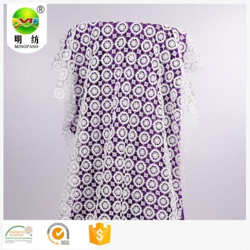100% polyester white embroidery lace fabric