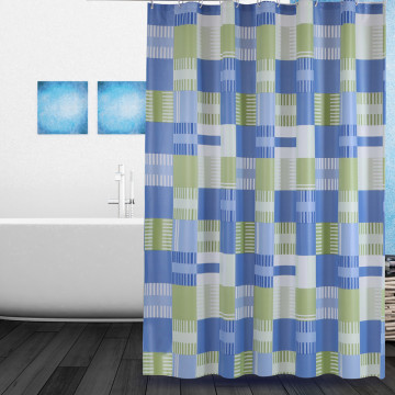 Shower Curtain PEVA Blue Green Square
