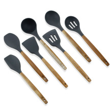 Silicone kitchen utensils tool set with wooden handle