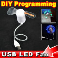 kebidu DIY Programmable Fan Flexible usb LED USB Gadgets FanLight Can Reprogramme Any Text Words Advertising Character Messages