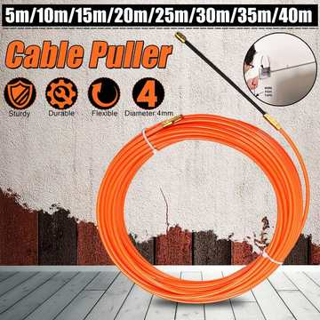 Durable 4mm 5 Meter To 40 Meter Orange Guide Device Nylon Electric Cable Push Pullers Duct Snake Rodder Fish Tape Wire