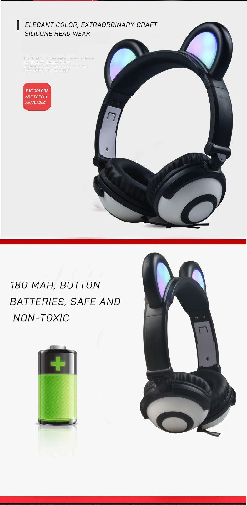 OEM Colorful Glowing LED Panda Ear Headphones
