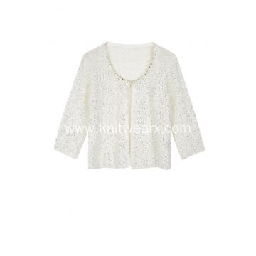 Women's Knitted Sequins Yarn Diamond Necklace Crew Cardigan