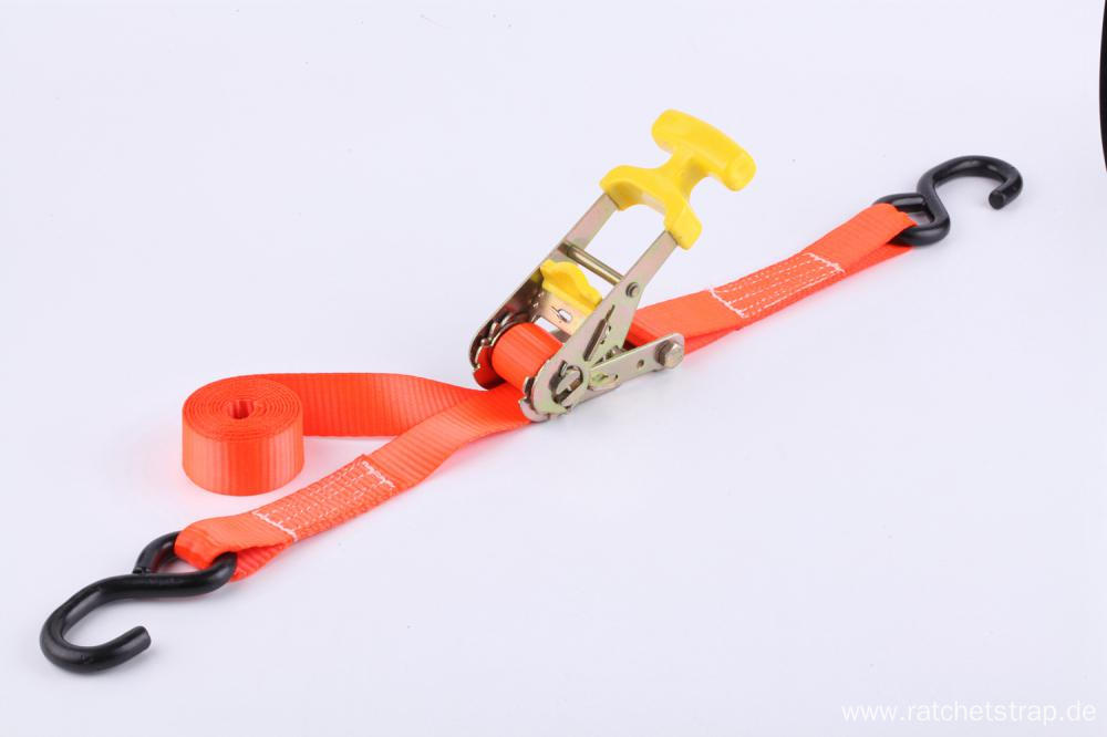 Ergonomic Handle Ratchet Tie Down Straps with S Hooks