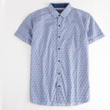 New Men's Short Sleeve Print Cotton Shirt