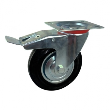 160mm rubber wheel casters with lock