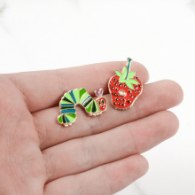 Hungry Caterpillars Story Book Strawberry Catroon pins Fruit brooches Enamel pins Lapel pins jewelry For Friends Kids Gifts