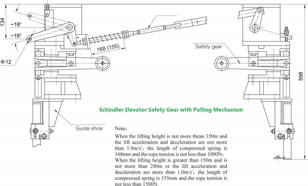 Schindler Elevator Safety Gear with Pulling Mechanism