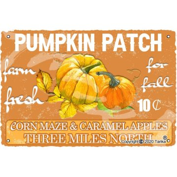Pumpkin Patch Farm Fresh for Fall Corn Maze Caramel Apples 20X30 cm Tin Vintage Look Decoration Poster Sign for Home Wall Decor