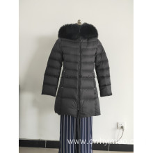 Lady black duck down coat with hood