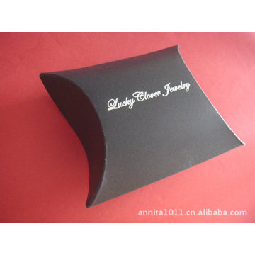 Black Foil Logo Floding Gift Paper Pillow Box
