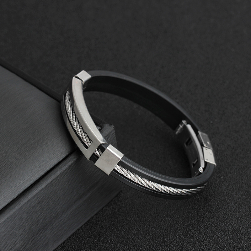 Stainless Steel Silicone Black Bracelet