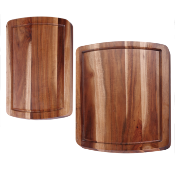 Commercial wood cutting board with well