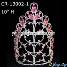 10 Inch Pink Rhinestone Flower Pageant Crowns