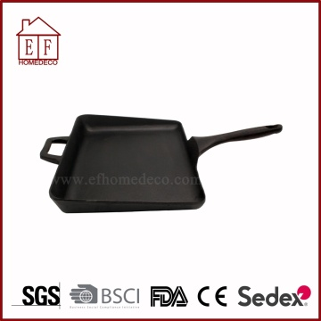 Cast Iron Grill Pan with Longer Curved Handle