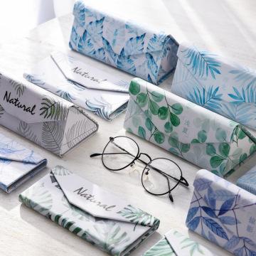 Student myopia folding glasses case sunglasses women and men glasses box fresh portable flamingo leaves banana leaf glasses box