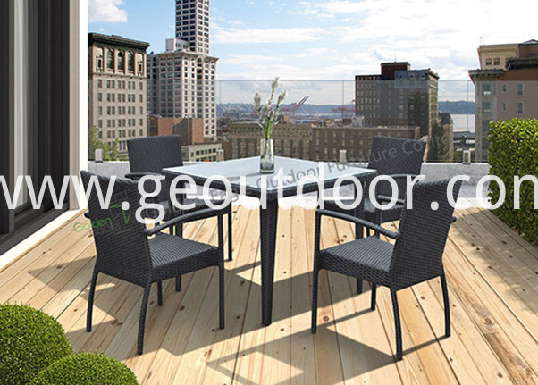 square wicker patio dining set