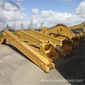 Long reach arm for floating swamp excavator with cylinders