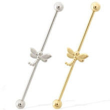 14k Gold Industrial Barbell with Dragonfly Charm