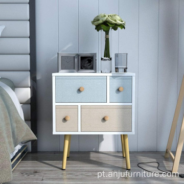 White 4 drawers Modern Night Stand Table