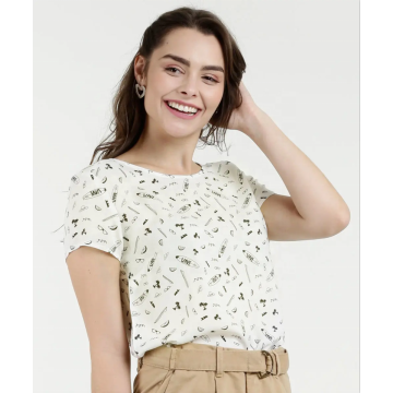 Short Sleeve Beached For Allover Printed Blouse