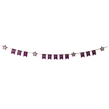 Purple happy birthday bunting flag