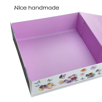 Beauty Colorful Ribbon Closure Folding Paper Box