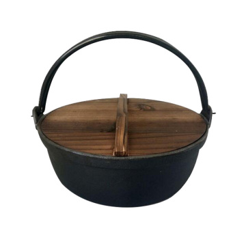 ZITING 24cm Cast Iron Pot Soup Stock Pots Wild Cookware Stewpan With Wood Cover General Use for Gas and Induction Cooker