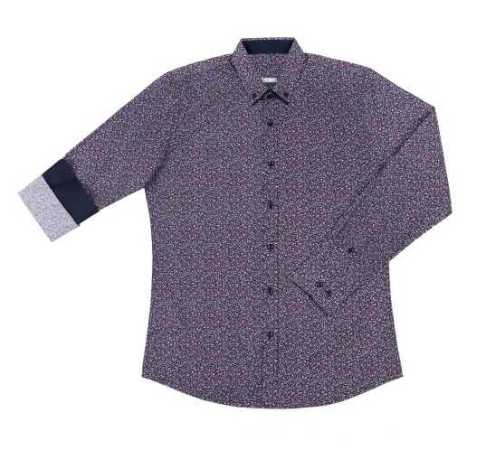 Good quality men's woven printed cotton shirt