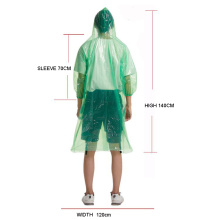 Emergency pocket PE disposable rain poncho raincoat with sleeves