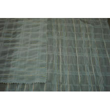 Polyester Chiffon Crinkle Gold Lurex Stripe Dobby Fabric