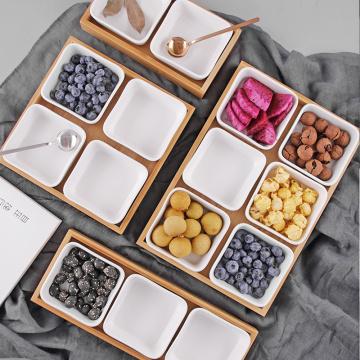 Japanese Creative Rectangle Ceramic Bamboo Dry Fruit Dessert Box Dish Multi Grid Plate Candy Dried Snack Foods Dessert Tea Tray