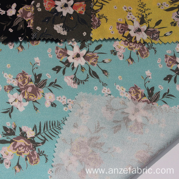 Soft breathable 100 rayon crepe fabric printed flowers