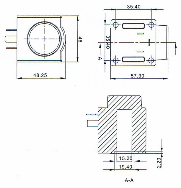 Overall dimension of EVR series electromagnetic valves accessories