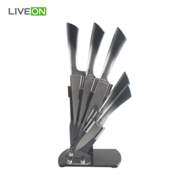 5pcs Stainless Steel Kitchen Knife Set with Block