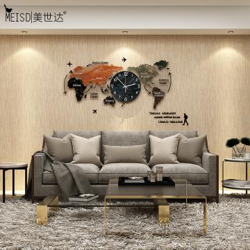 MEISD Larger World Map Wood Creative Clock Modern Design DIY Mirror Sticker Hanging watch Quartz Mute Living Room Free Shipping