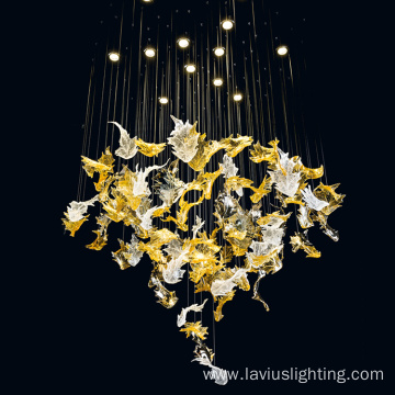 Elegant fashion glass led chandelier light