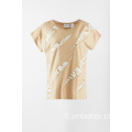 T shirt solida applicata con manica corta